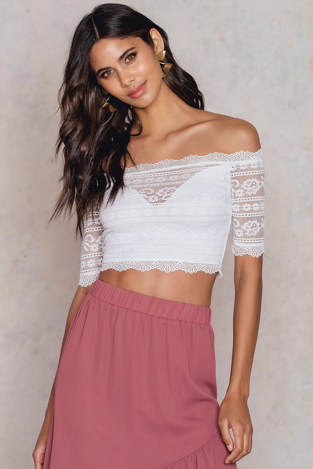 Cropped Lace Top White
