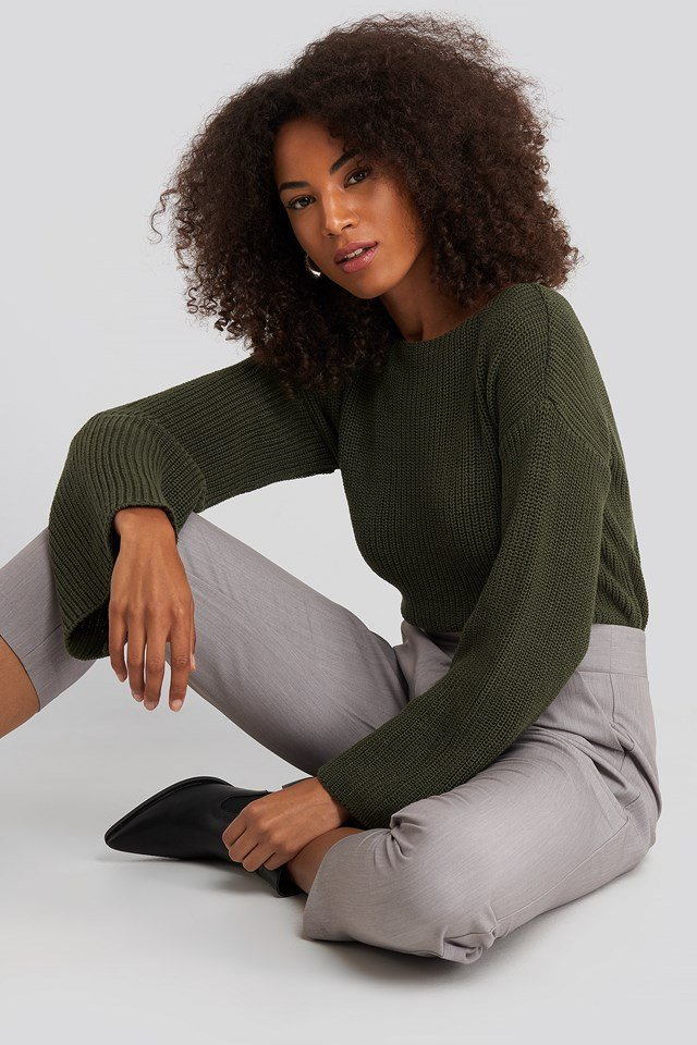 Cropped Long Sleeve Knitted Sweater Khaki