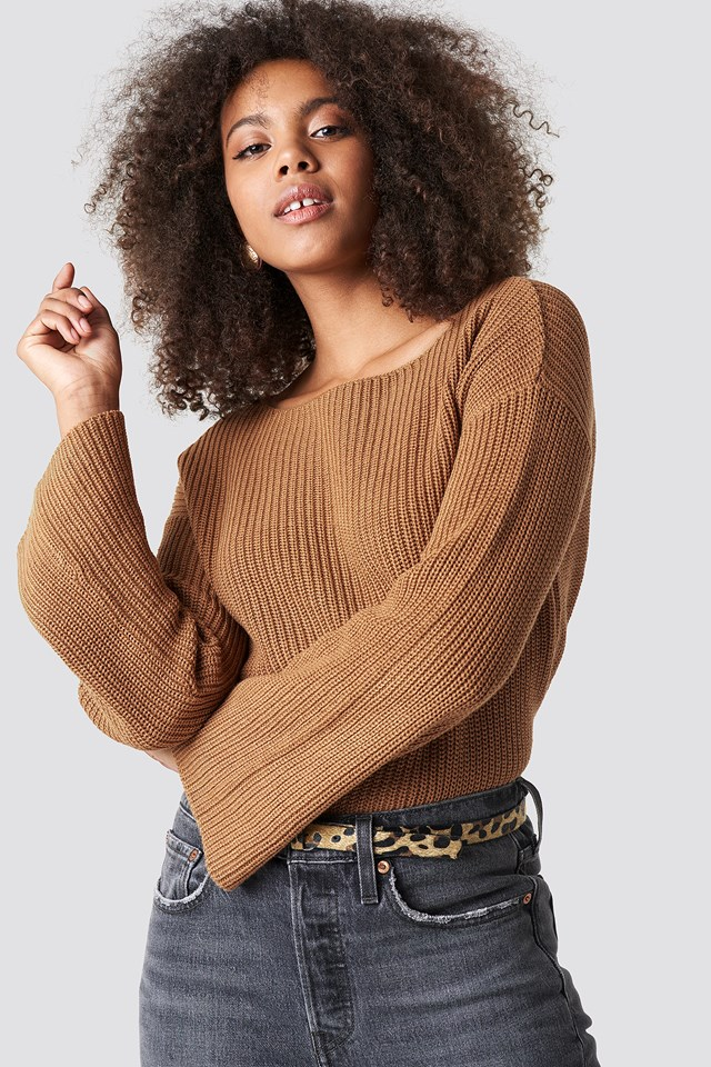 Cropped Long Sleeve Knitted Sweater Tan