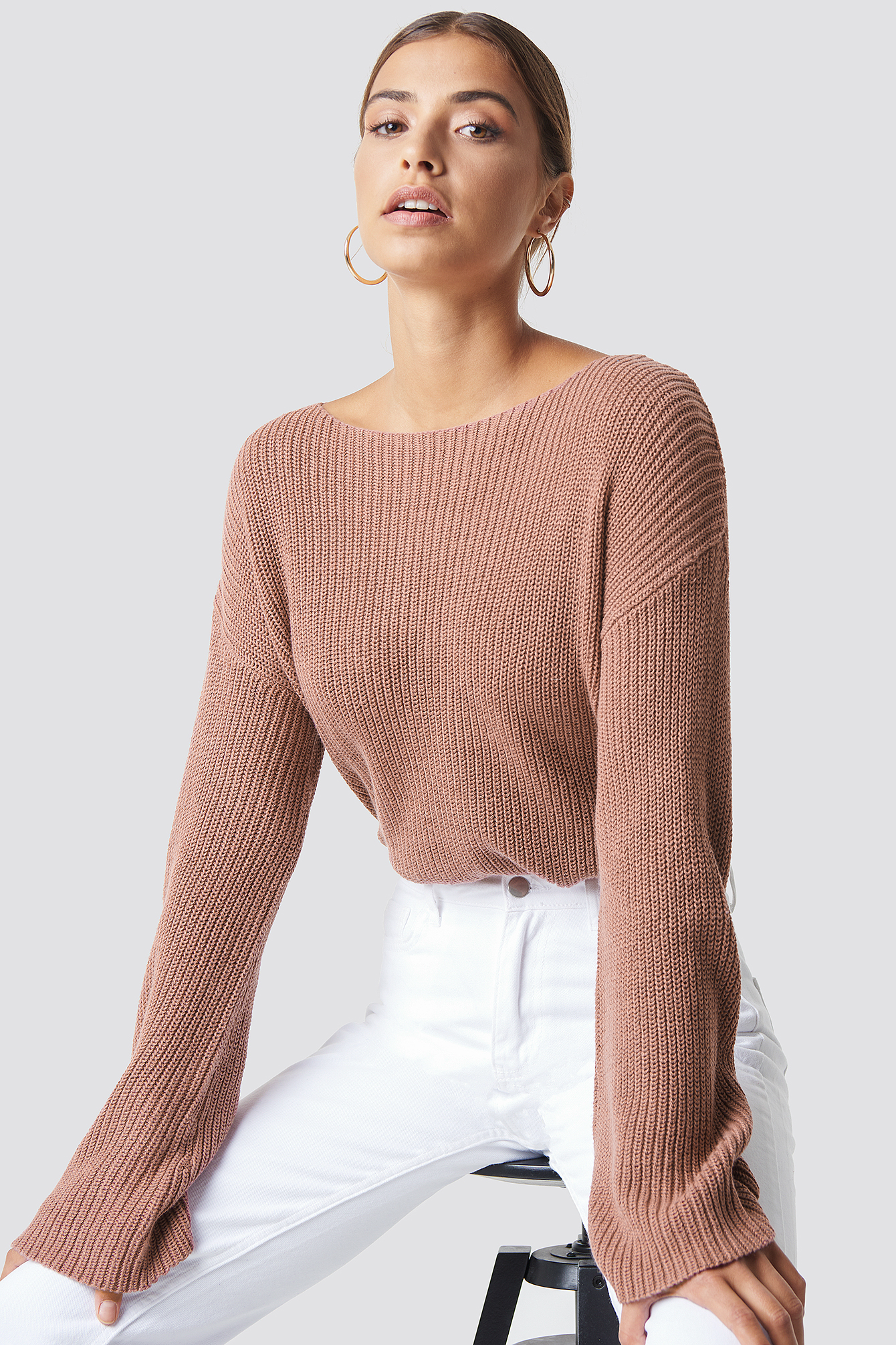 Cropped Long Sleeve Knitted Sweater Lyserød by Na Kd
