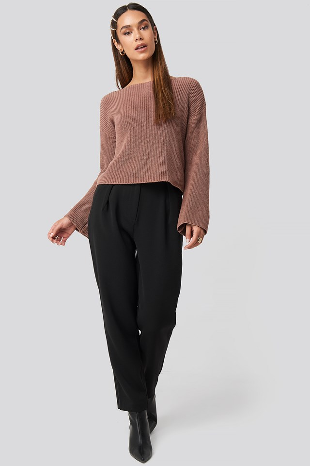 Cropped Long Sleeve Knitted Sweater Dusty Dark Pink