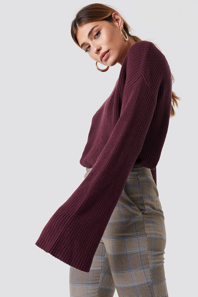 Cropped Long Sleeve Knitted Sweater Burgundy