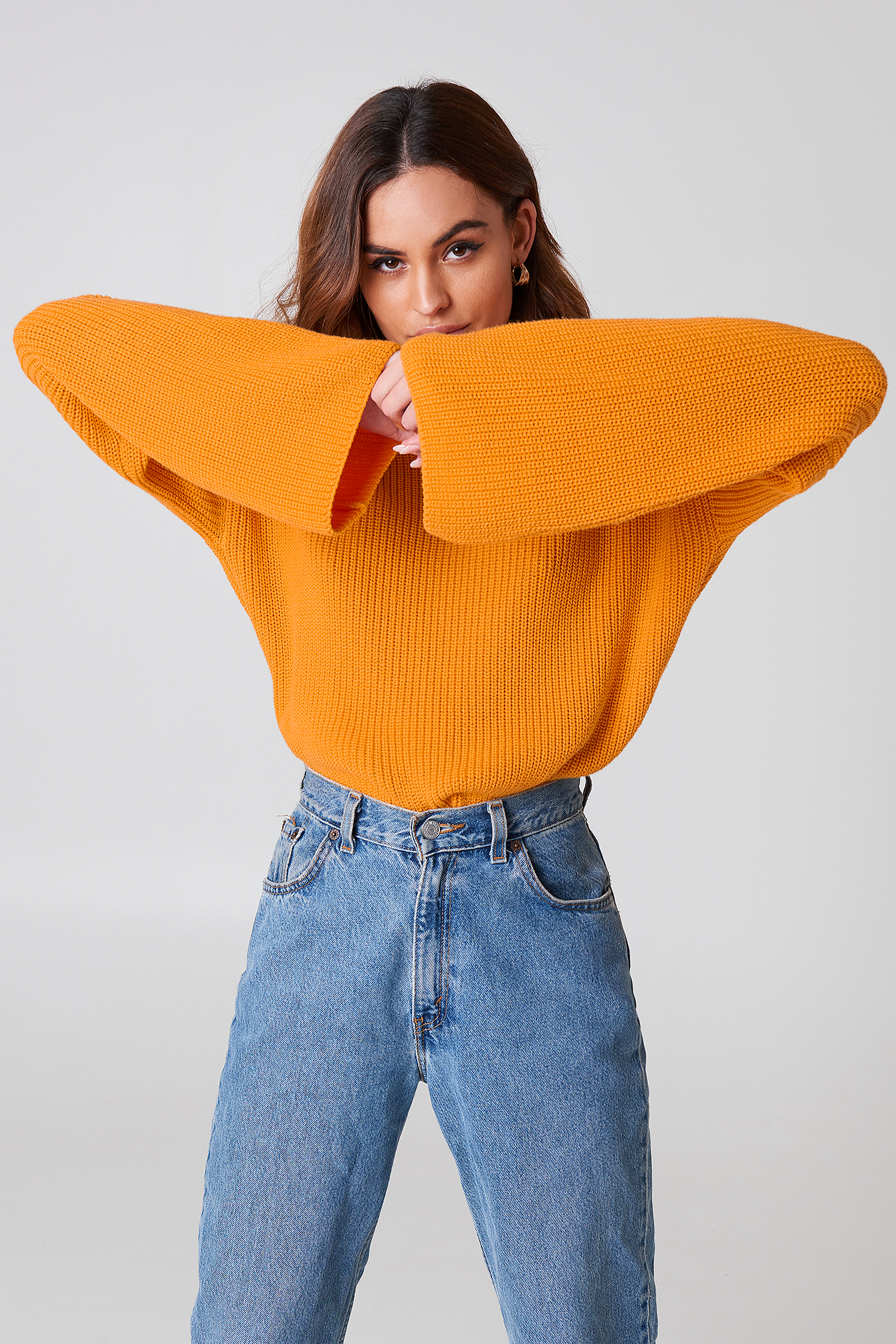 Cropped Long Sleeve Knitted Sweater