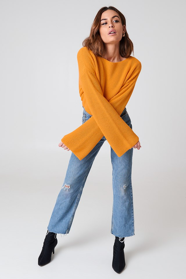 Cropped Long Sleeve Knitted Sweater Orange