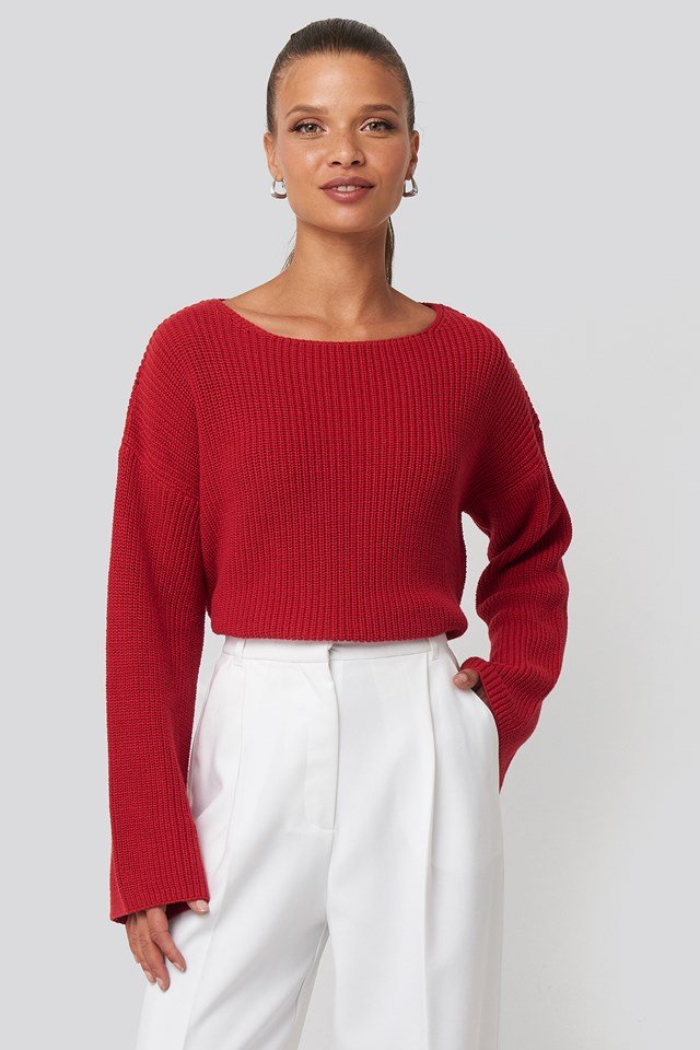 Cropped Long Sleeve Knitted Sweater Poppy Red