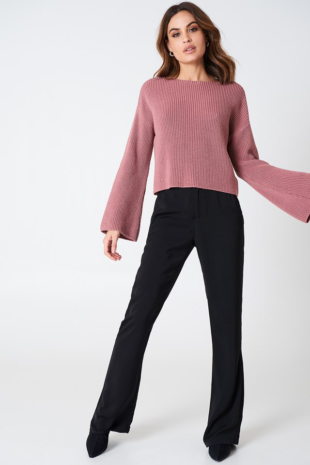 Cropped Long Sleeve Knitted Sweater Purple Rose