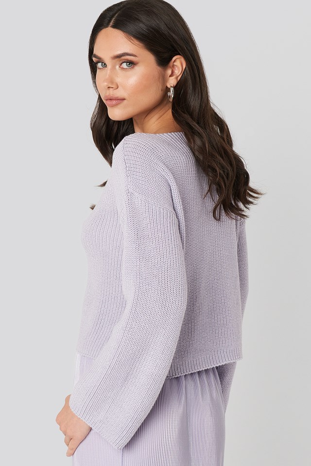 Cropped Long Sleeve Knitted Sweater Dusty Light Purple
