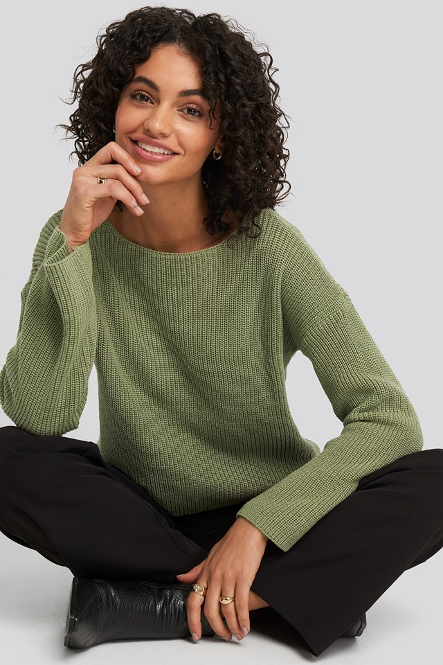 Cropped Long Sleeve Knitted Sweater Light Khaki