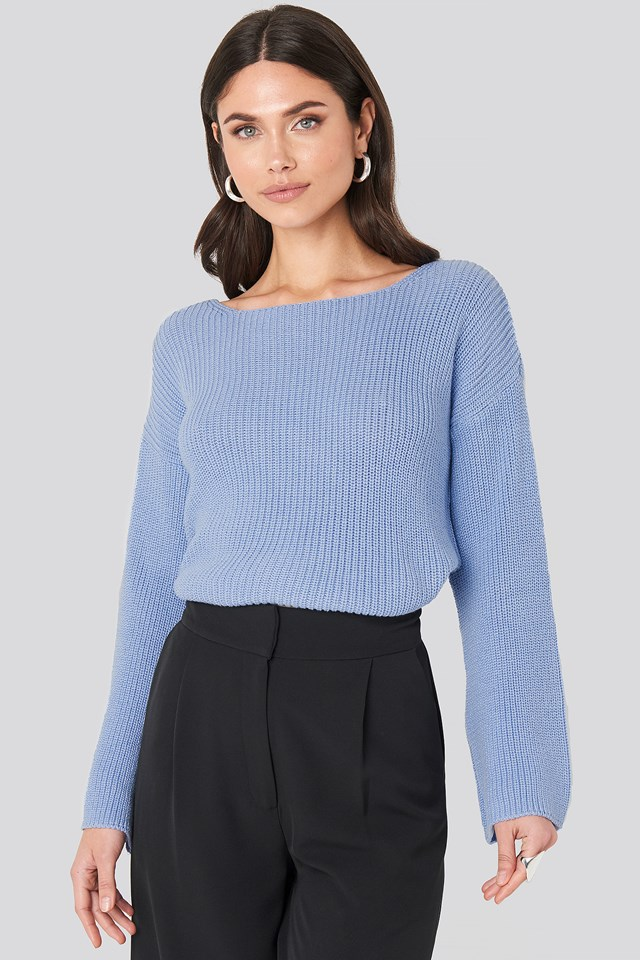 Cropped Long Sleeve Knitted Sweater Fresh Blue