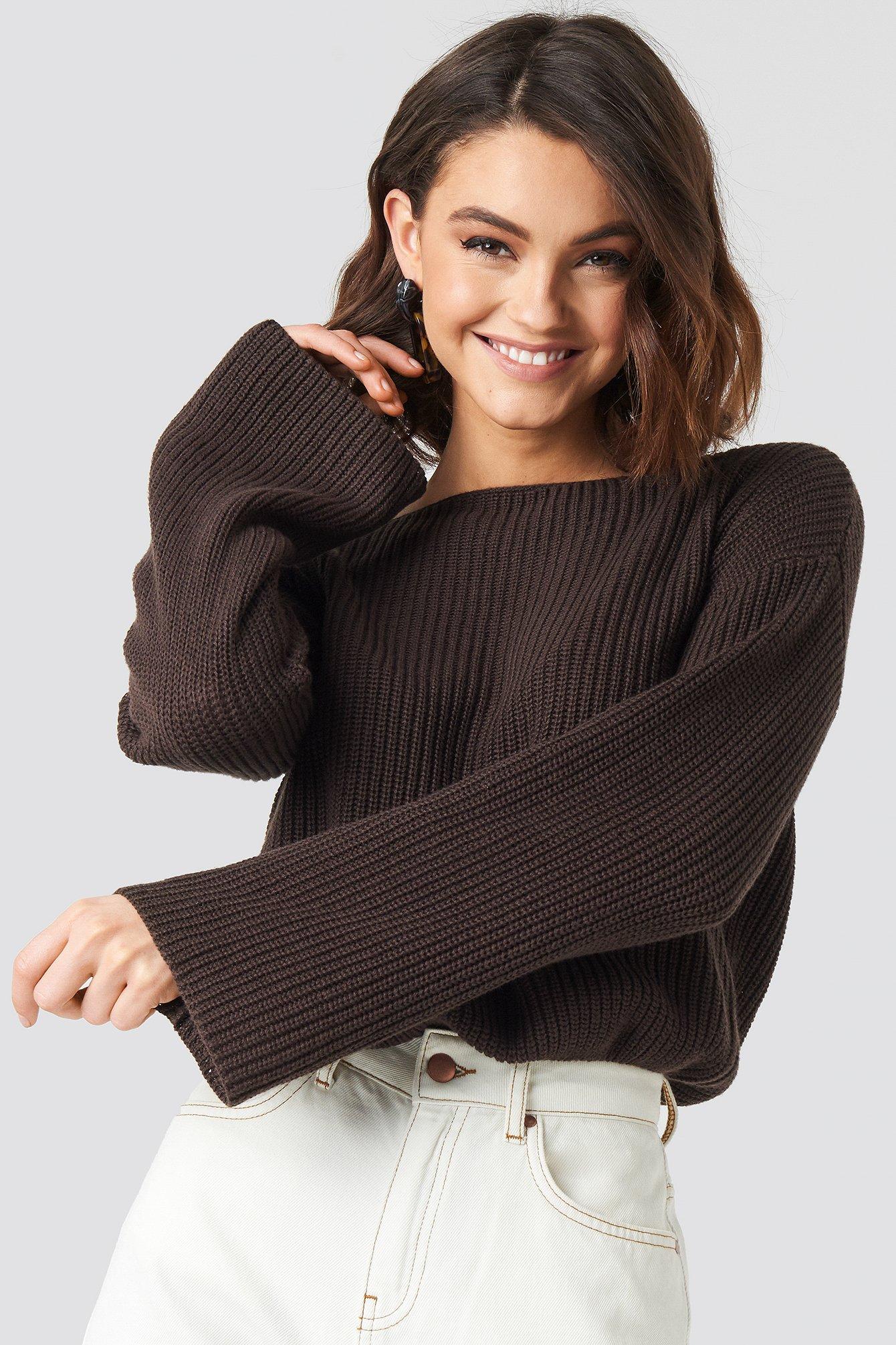 Ruffle Off Shoulder Knitted Sweater Beige   na-kd.com