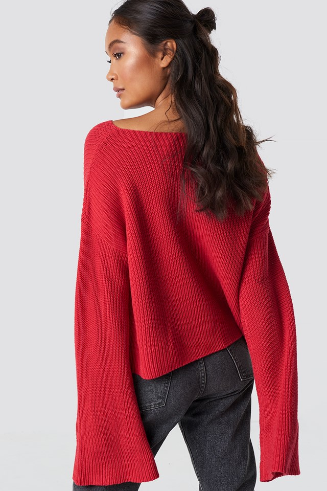 Cropped Long Sleeve Knitted Sweater Racing Red