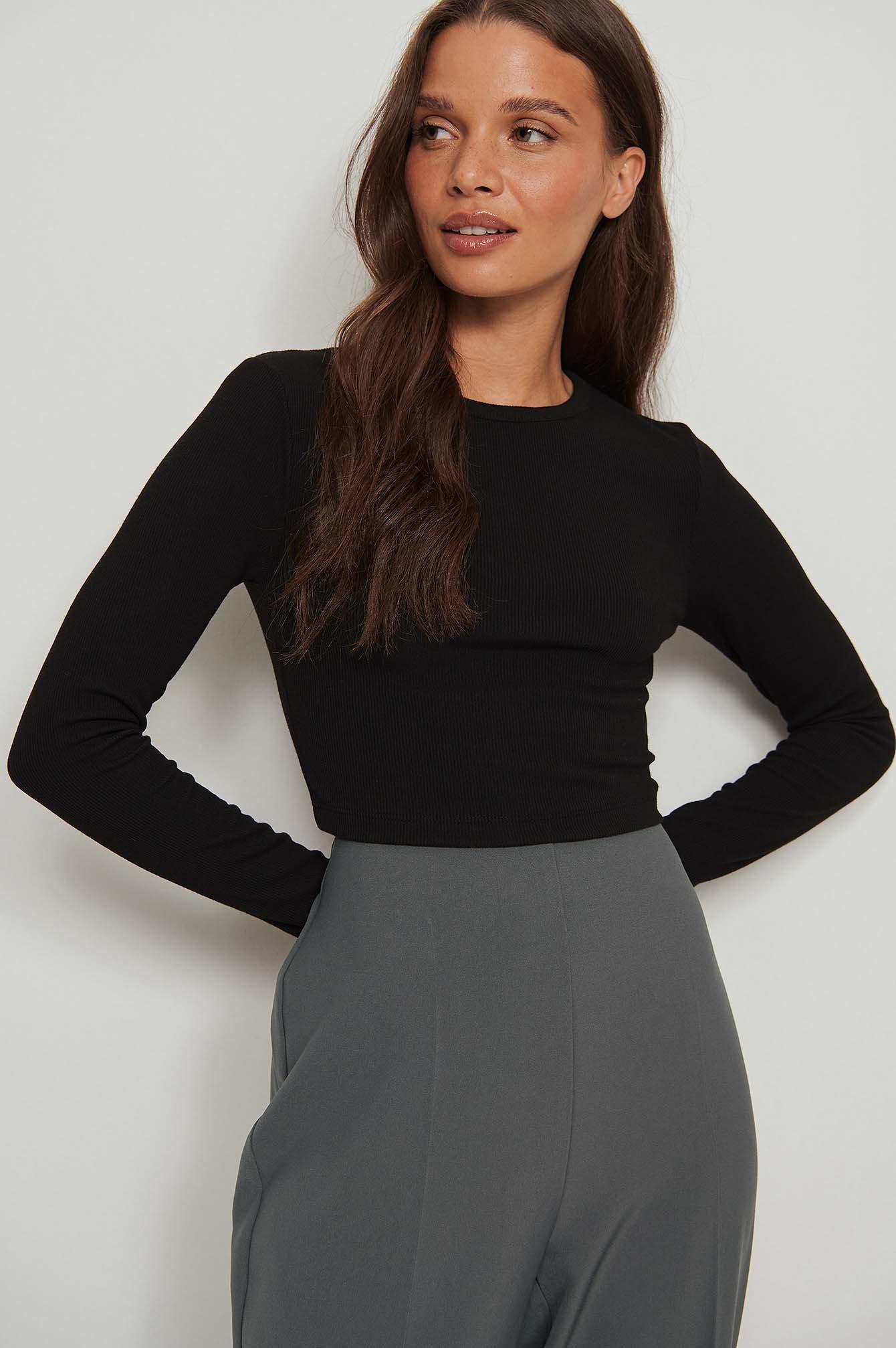 na-kd basic -  Recycelt Kurzes Longsleeve-Shirt - Black