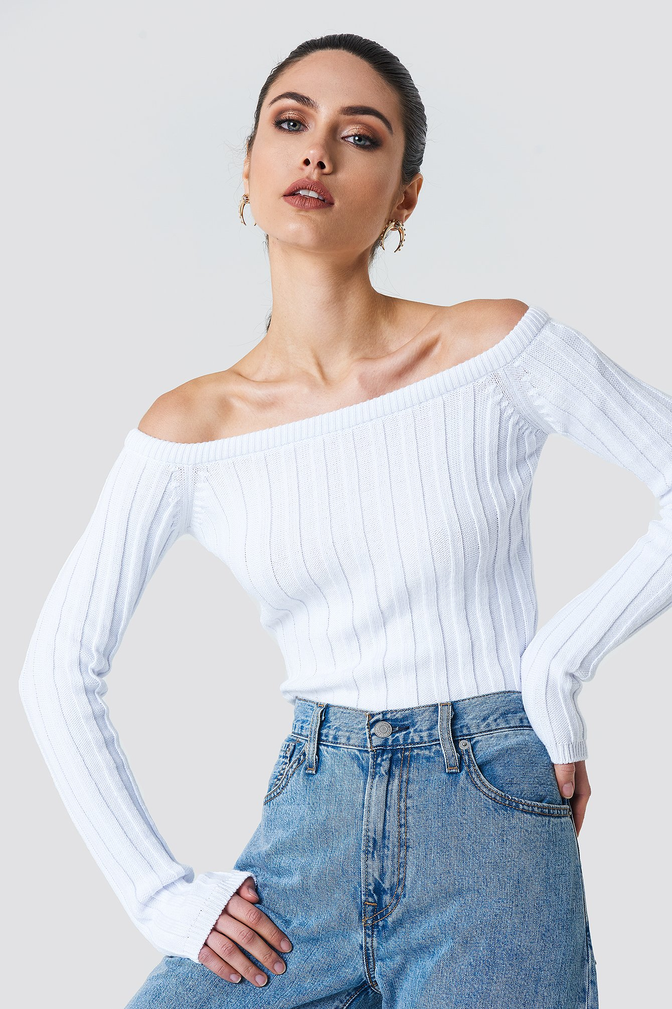 1290547af8a4e6 Cropped Off Shoulder Knitted Sweater Offwhite