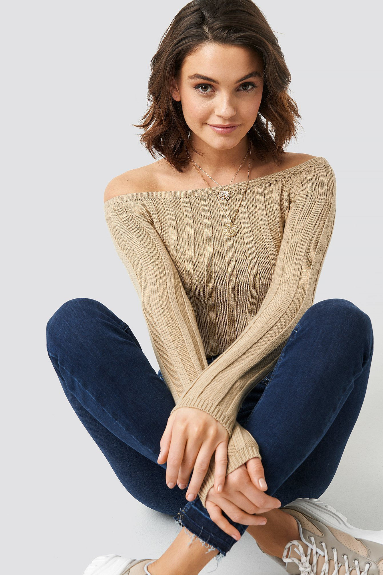 Beige Cropped Off Shoulder Knitted Sweater