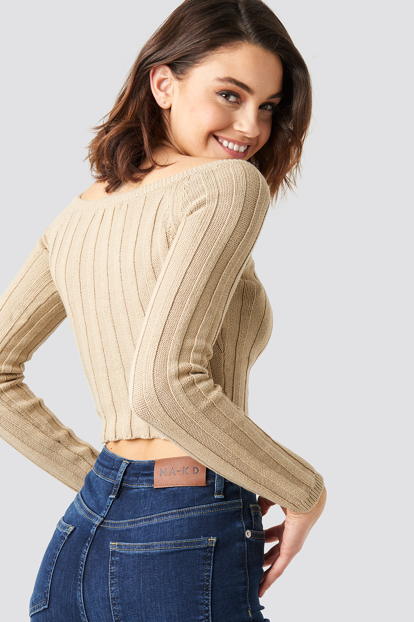 Cropped Off Shoulder Knitted Sweater NA-KD.COM