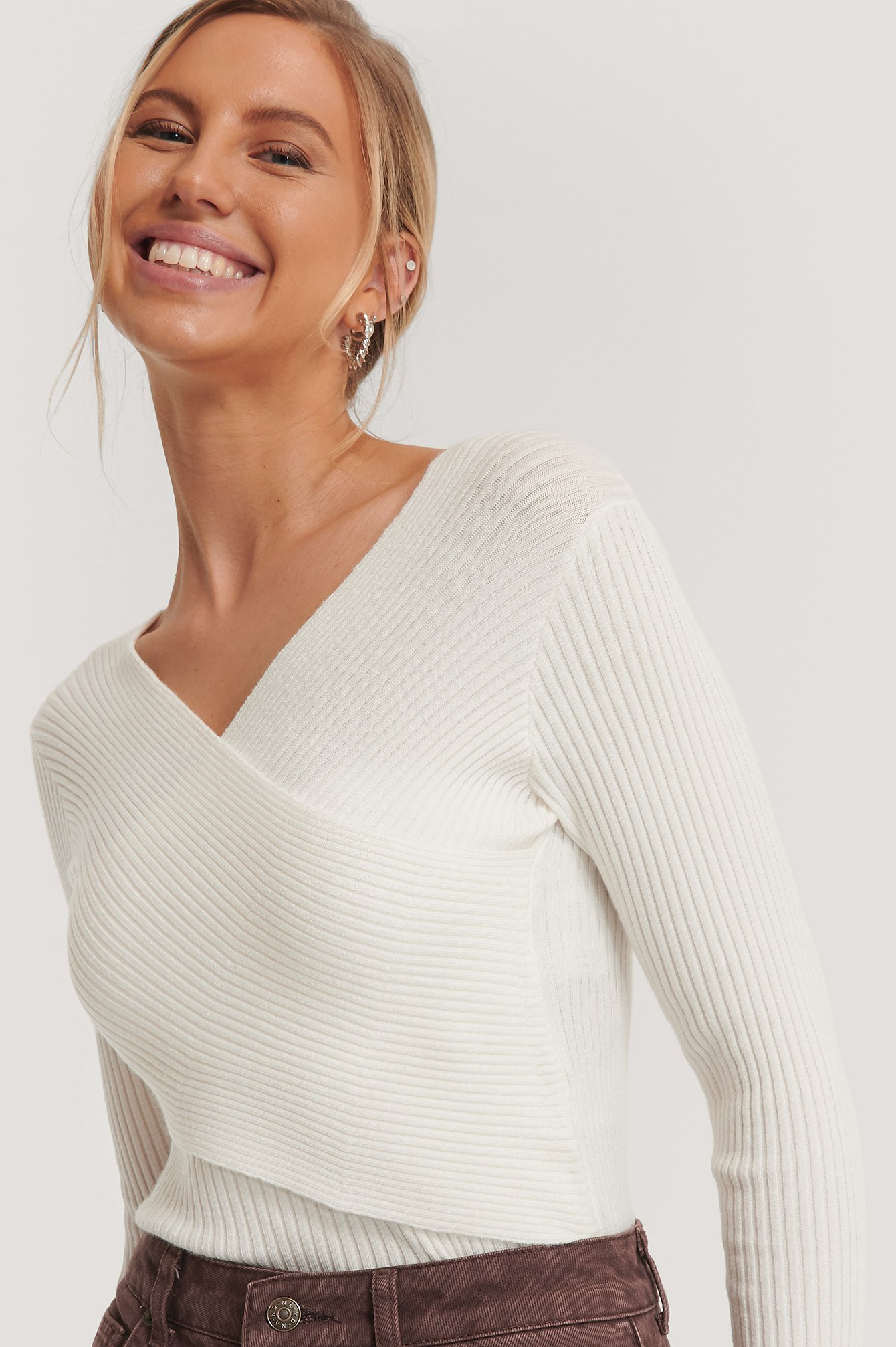 White Cropped Overlap Knitted Sweater