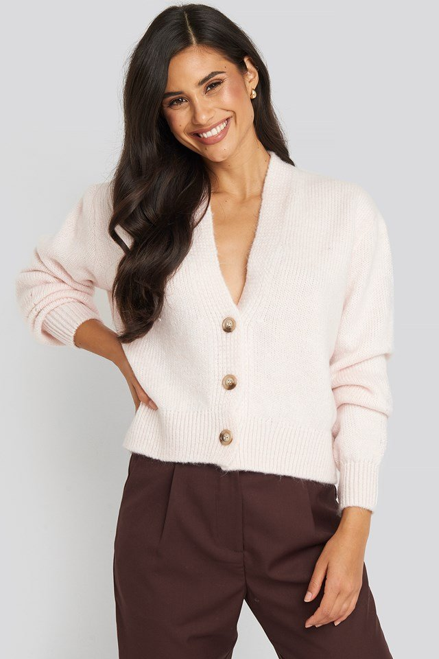 Cropped Oversized Cardigan Light Pink