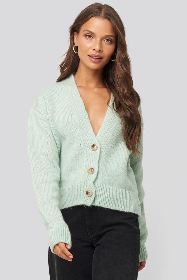 Cropped Oversized Cardigan Mint