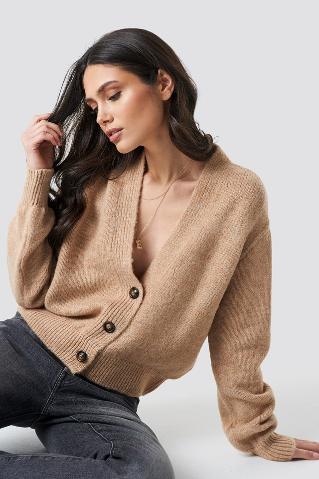 Cropped Oversized Cardigan Beige