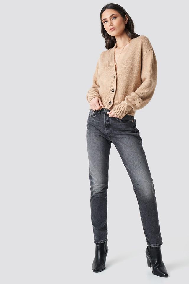 Cropped Oversized Cardigan Beige