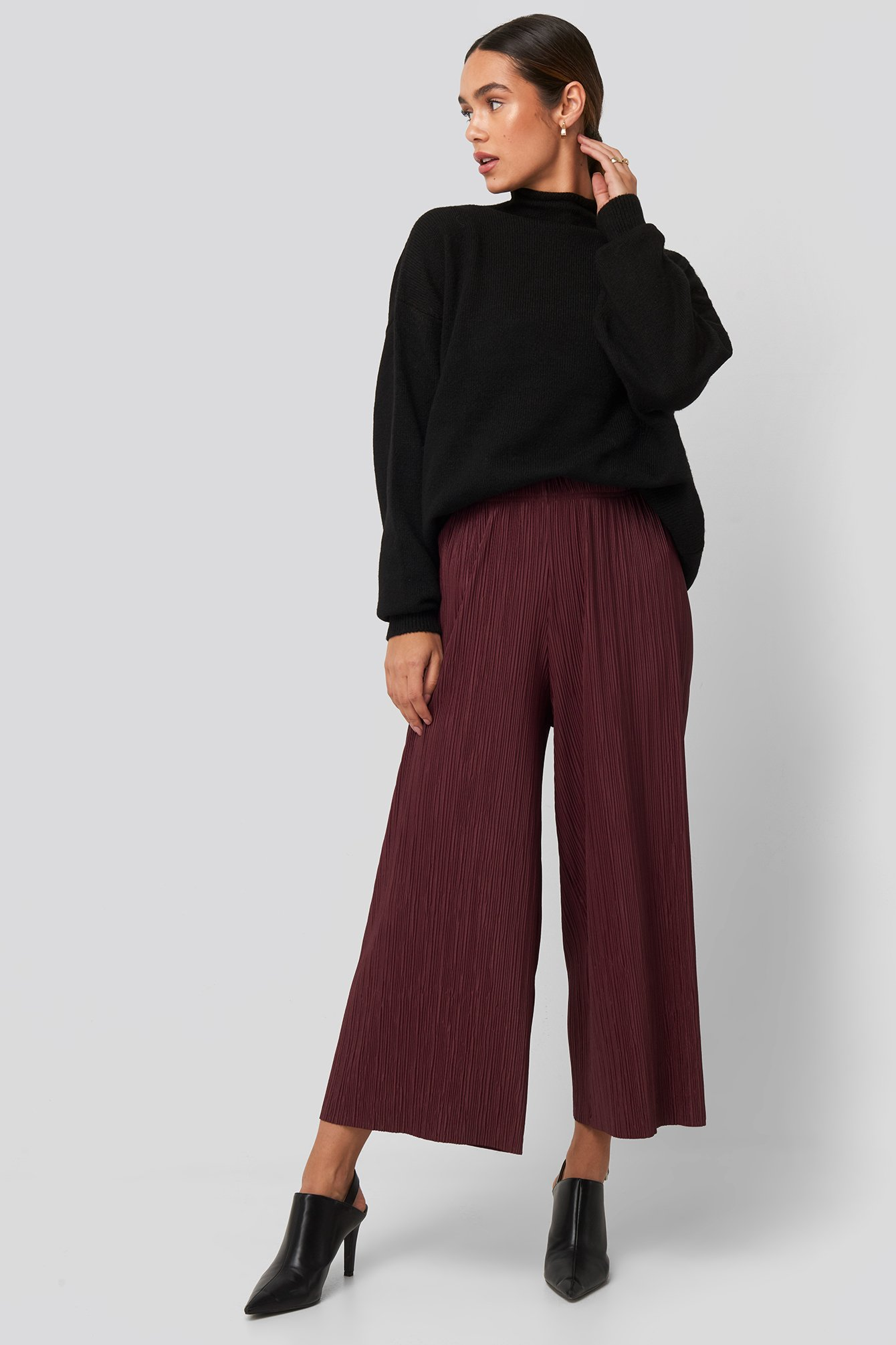 na-kd -  Cropped Plisse Culottes - Red,Purple