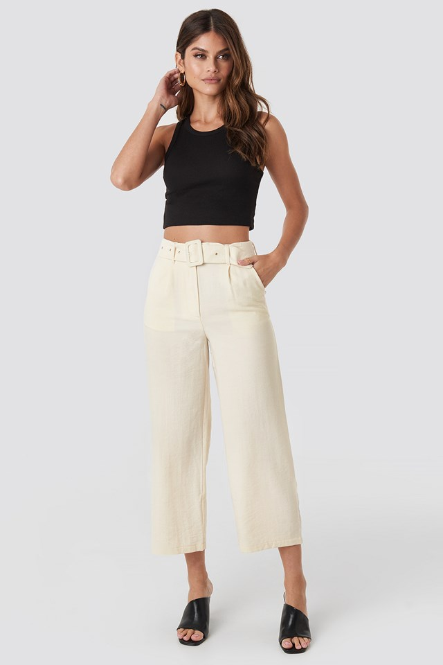 Cropped Ribbed Top Black