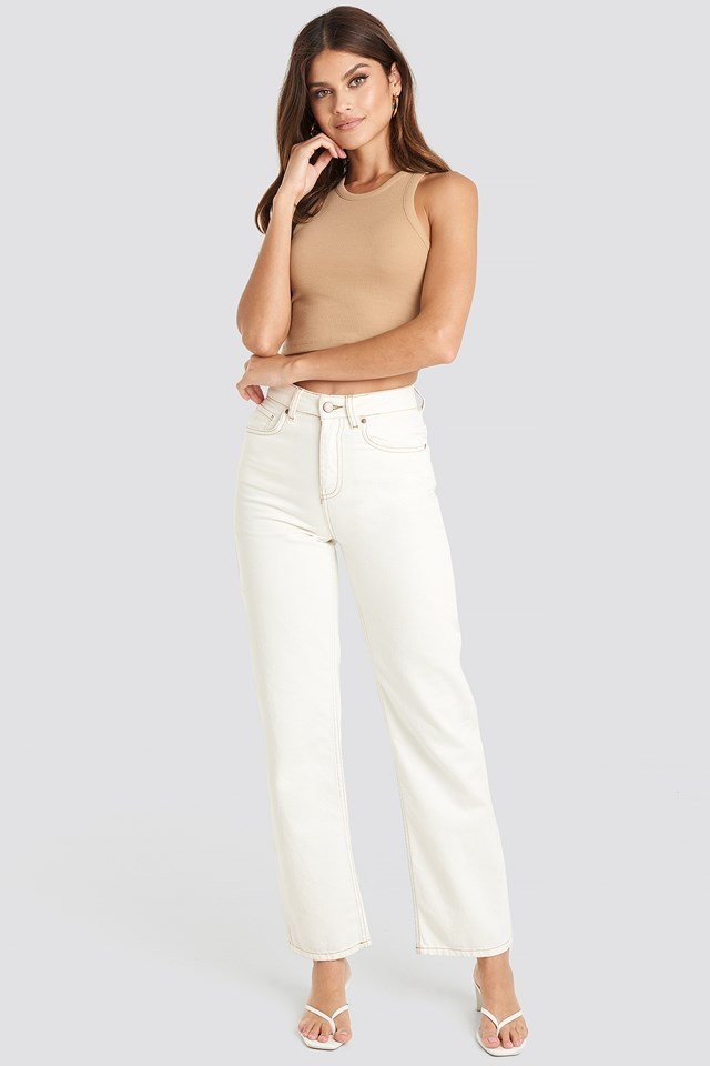Cropped Ribbed Top Light Beige