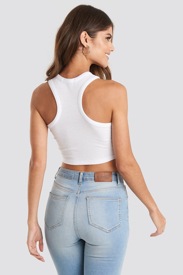 Cropped Ribbed Top White