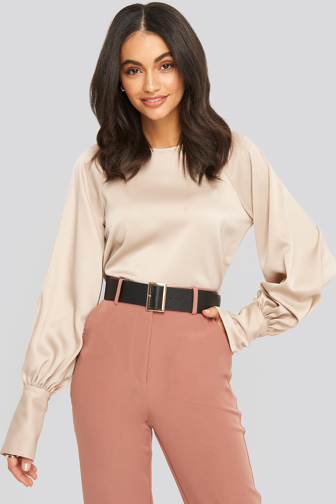 na-kd party -  Cropped Satin Balloon Sleeve Blouse - Beige