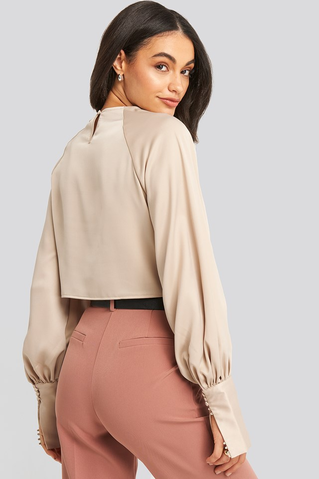 Cropped Satin Balloon Sleeve Blouse Champagne