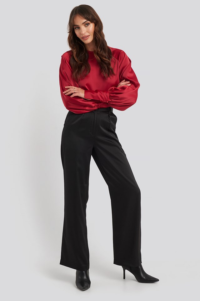 Cropped Satin Balloon Sleeve Blouse Red