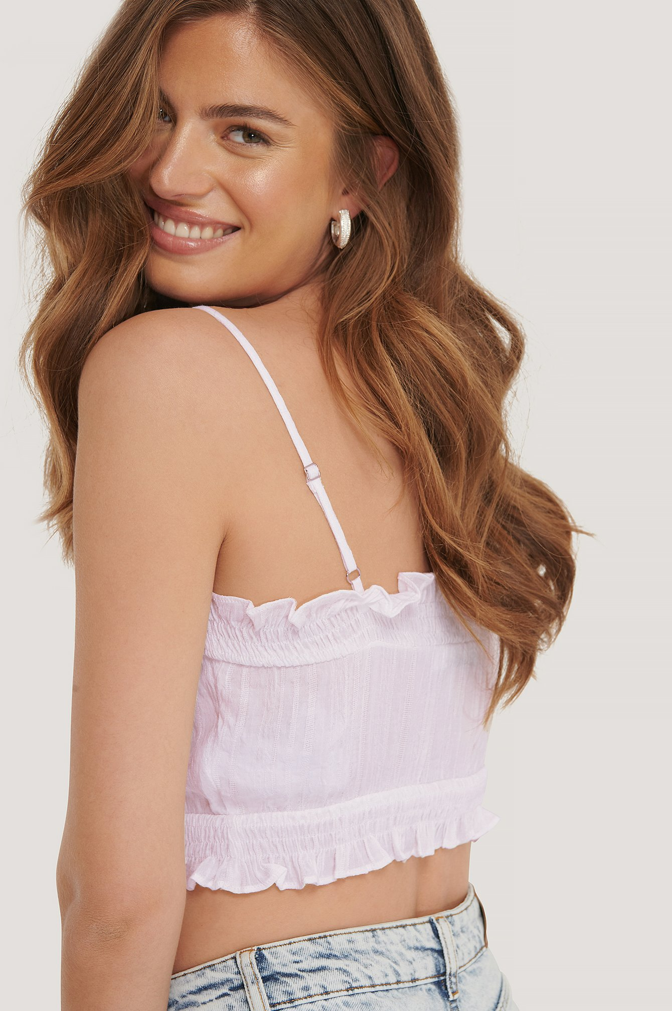 White Kurzes Top Mit Smock-Detail