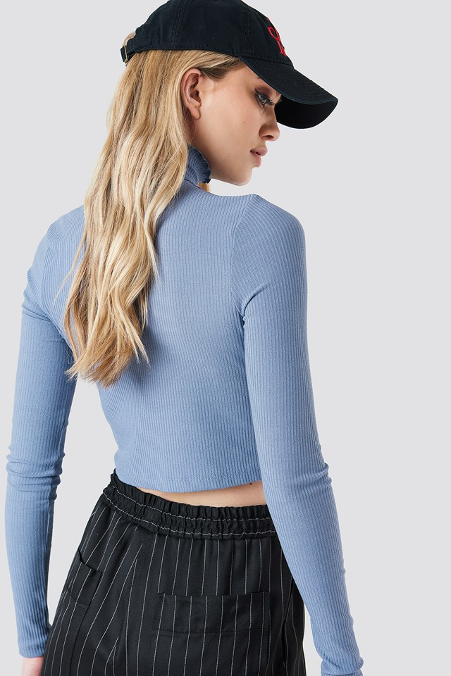 Cropped Smock High Neck Top Stone Blue