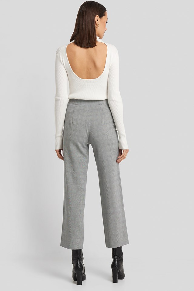 Cropped Straight Suit Check Pants Grey