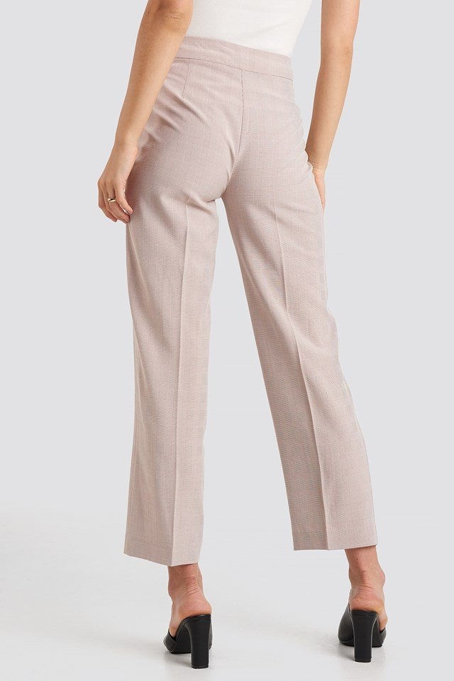 Cropped Straight Suit Check Pants Dusty Pink