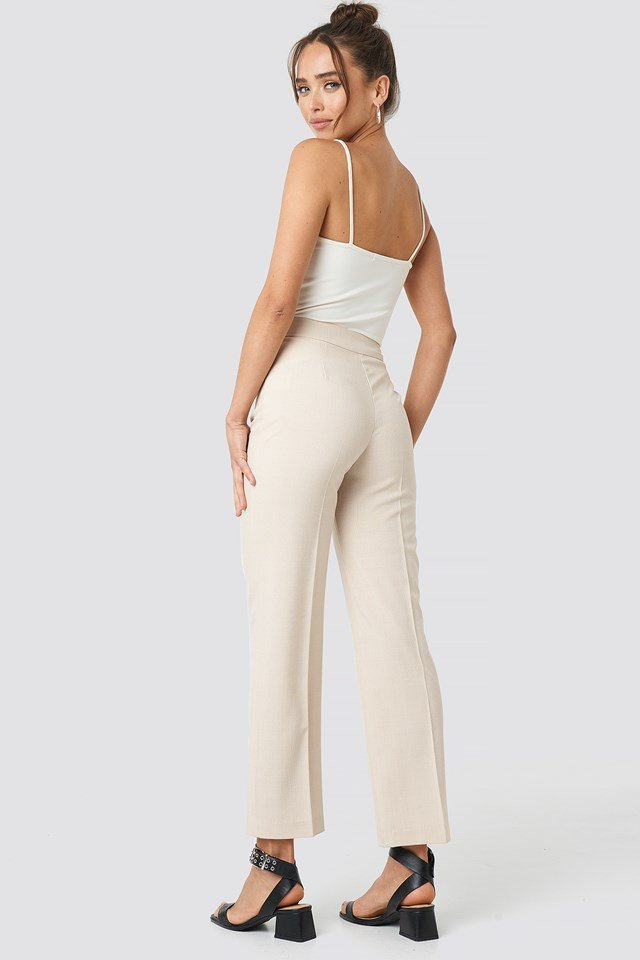 Cropped Straight Suit Check Pants Cream