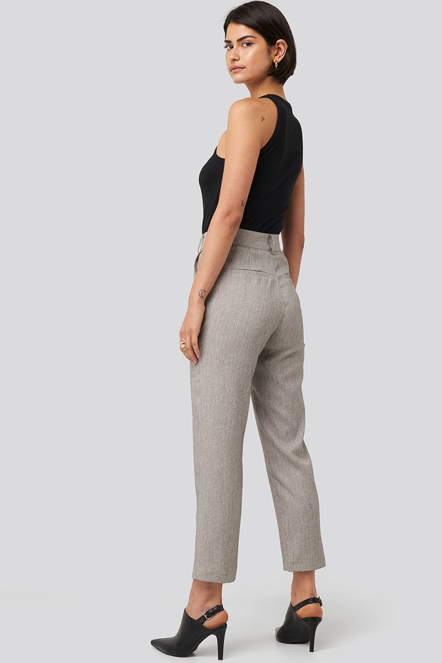 Cropped Suit Pants Grey Melange