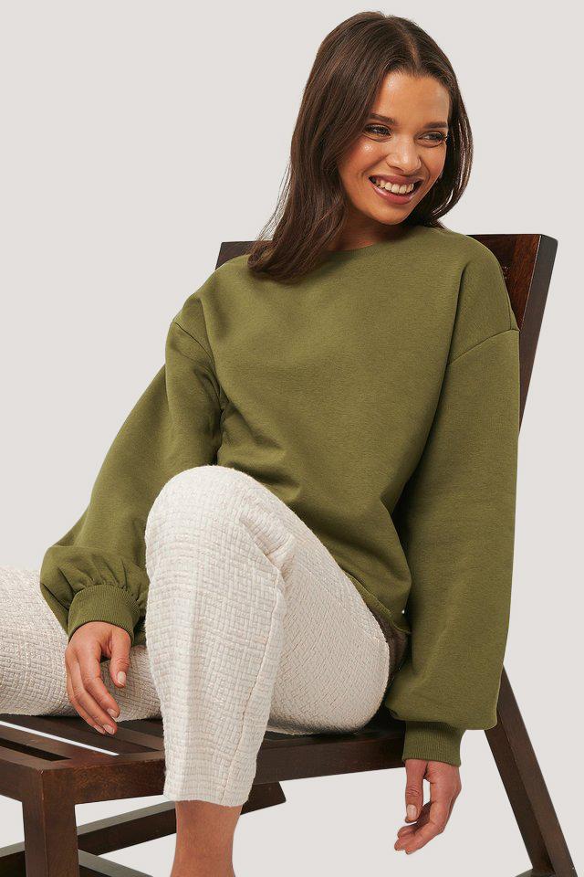 na-kd -  Cropped Sweatshirt - Green