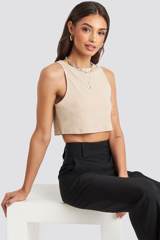 Cropped Tank Top Beige