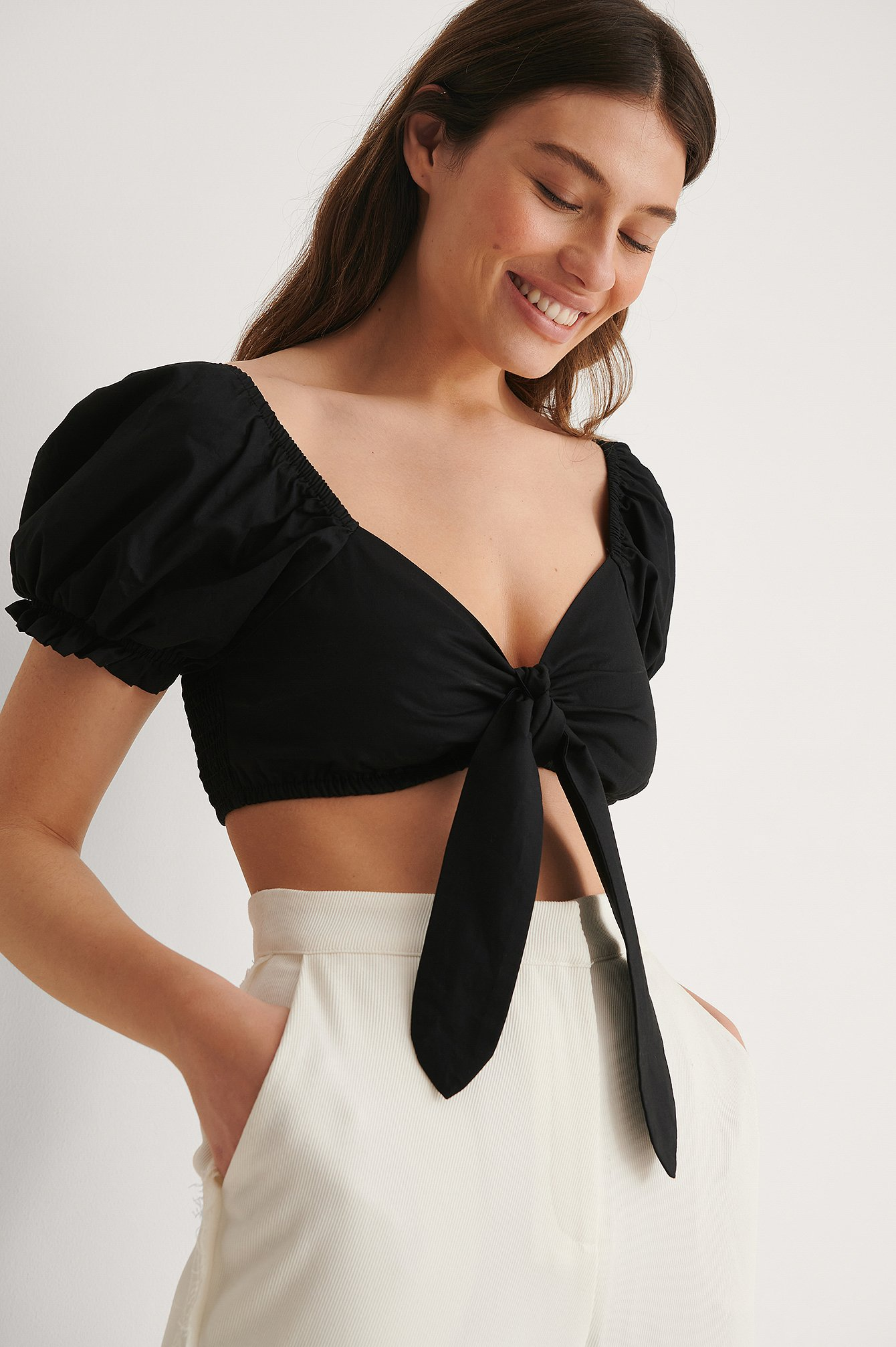 Black Organic Cropped Tie Front Top