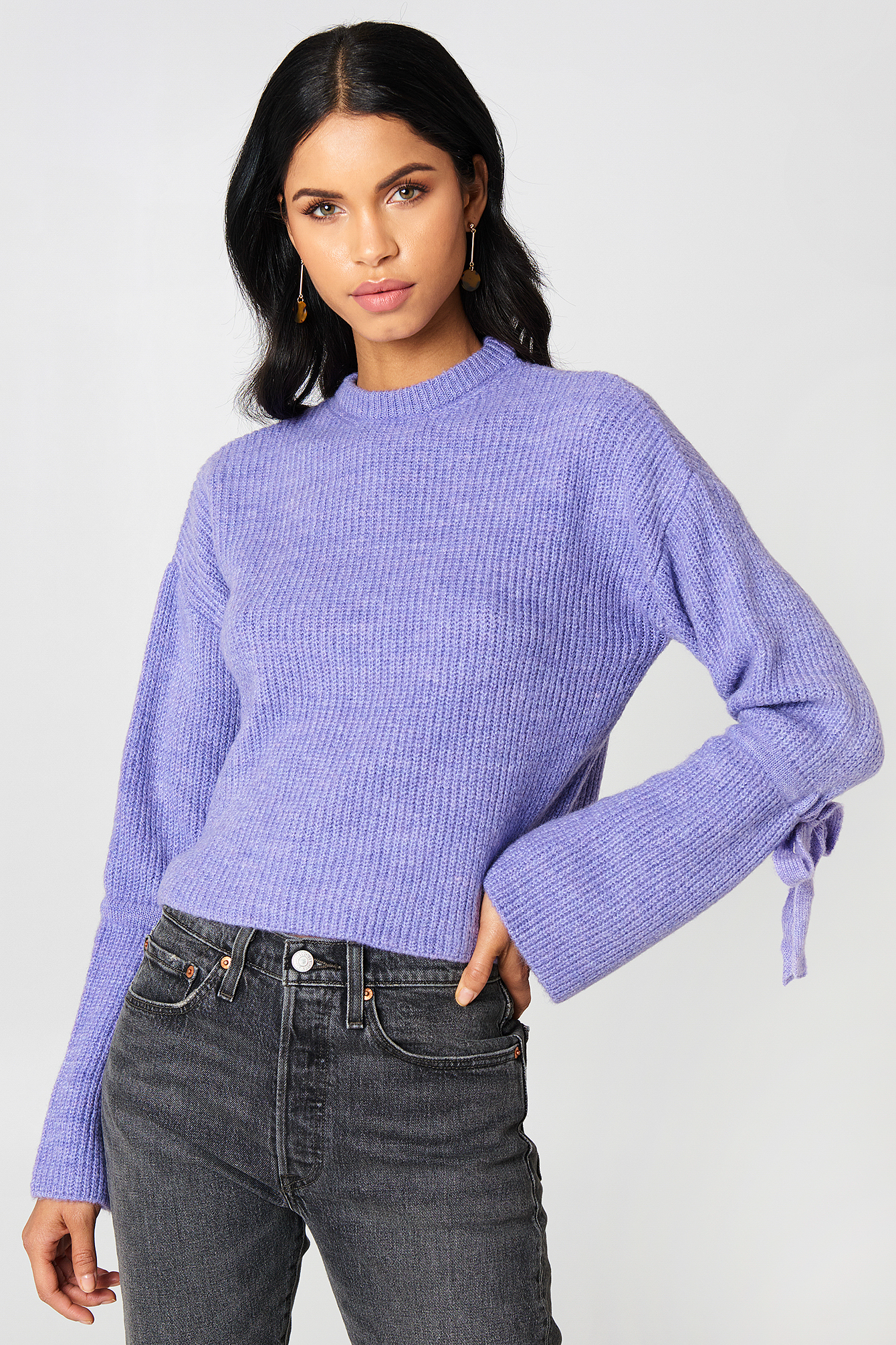 Cropped Tied Sleeve Knitted Sweater NA-KD.COM