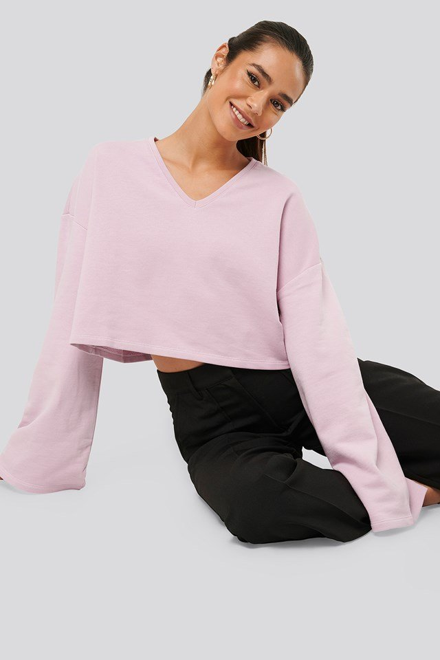 Cropped V Neck Oversized Sweater Pink