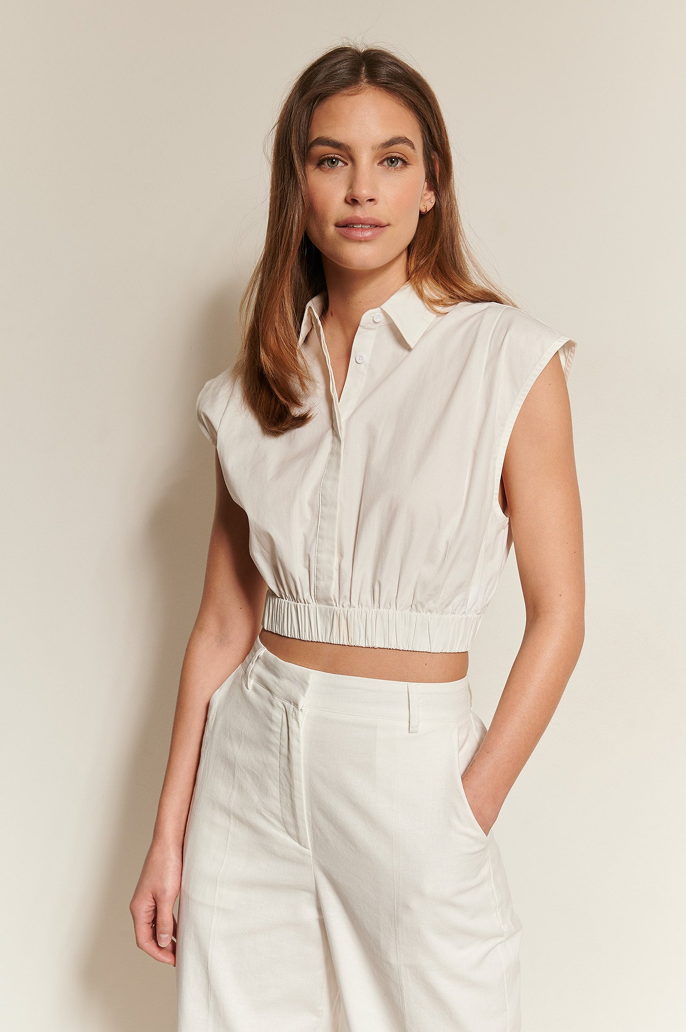 White Cropped Wide Shoulders Shirt