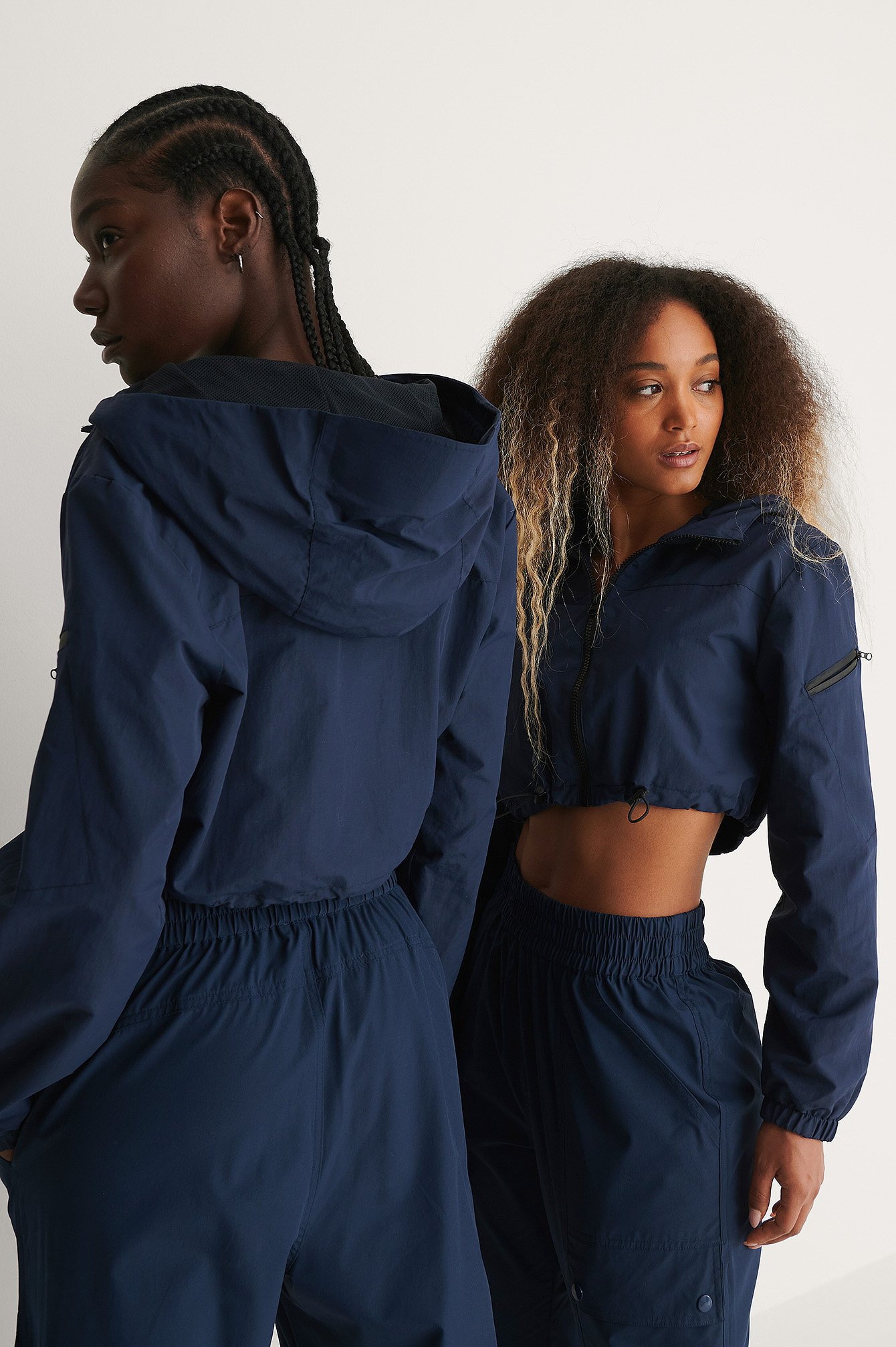 Navy Cropped Wind-shell Jacket