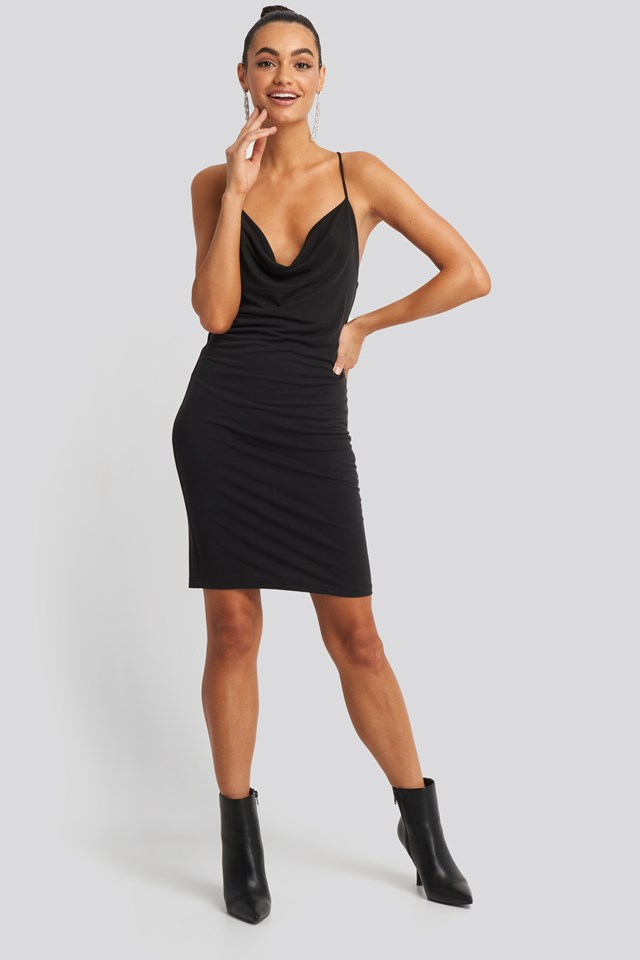 Cross Back Cowl Neck Dress Black