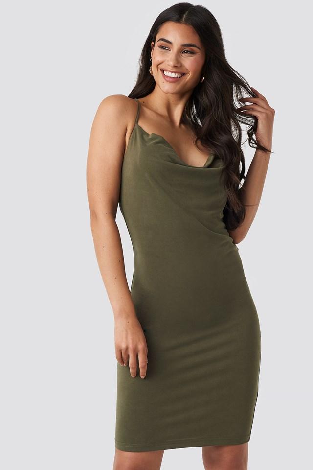 Cross Back Cowl Neck Dress Khaki Green