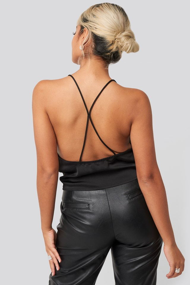 Cross Back Detail Singlet Black