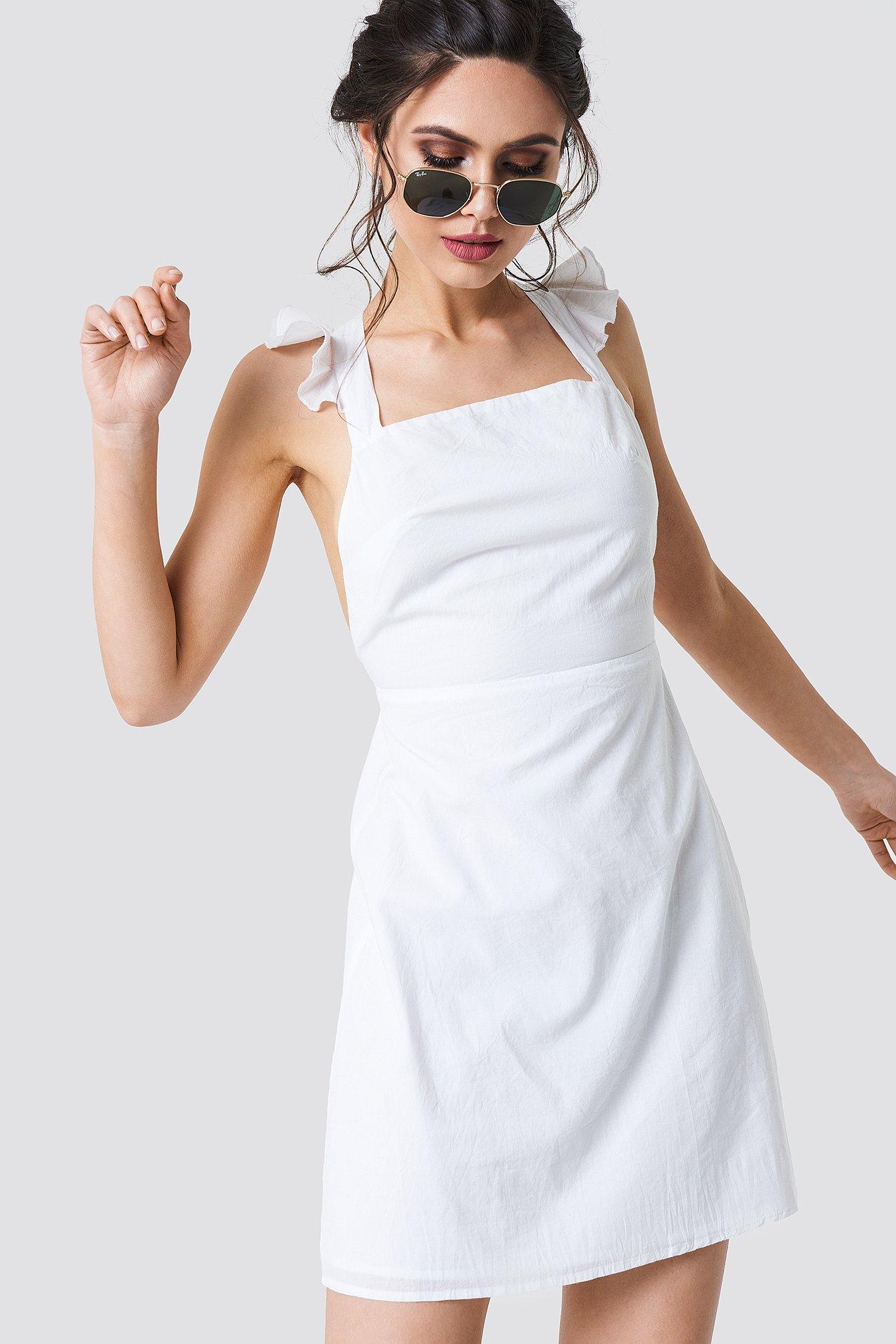 CROSS BACK FRILL MINI DRESS - WHITE