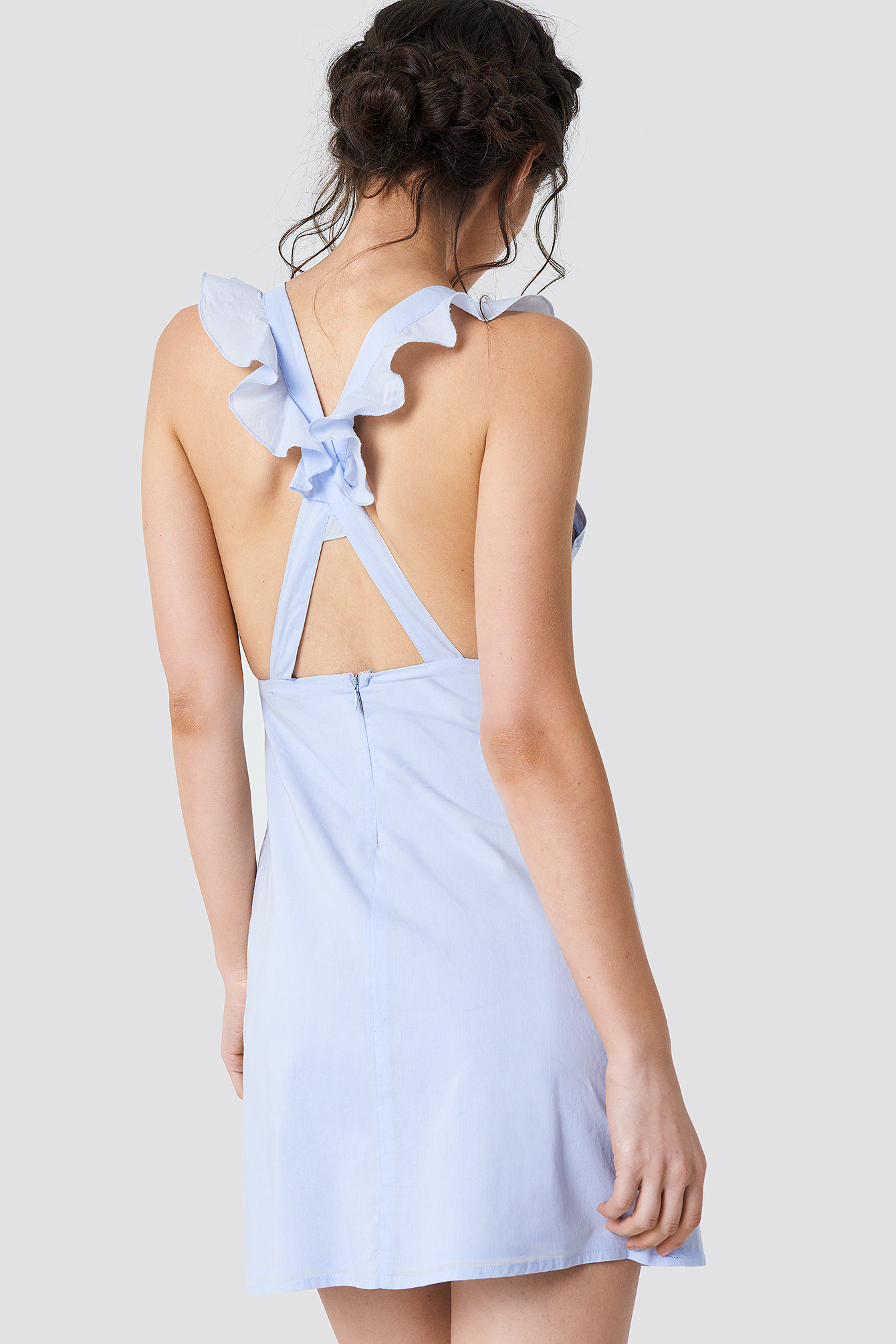 Cross Back Frill Mini Dress NA-KD.COM