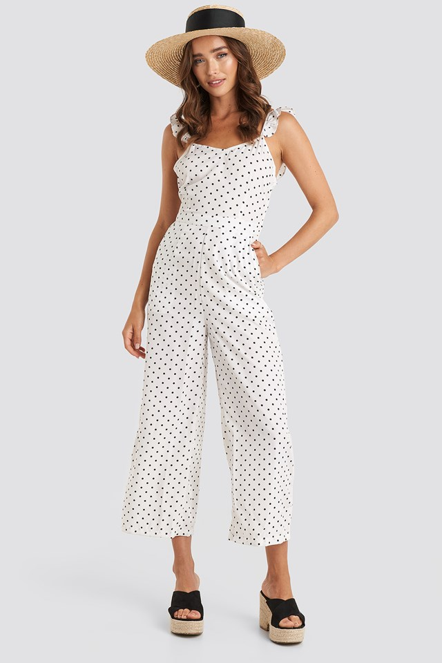 Cross Back Jumpsuit White/Black Dot